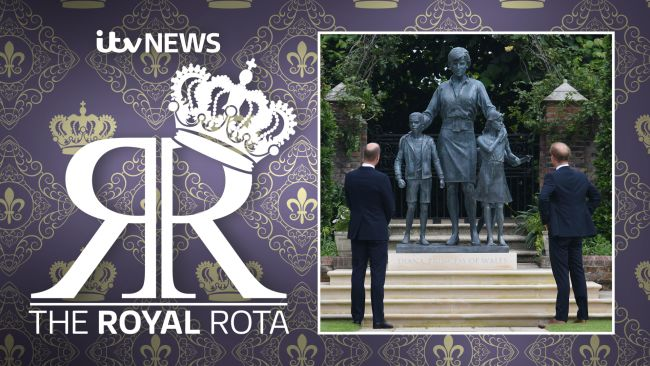 Princes William and Harry looking at the new Diana statue in London