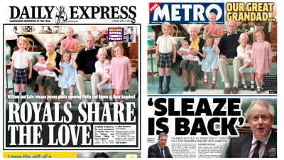 150421 Thursday's front pages, Twitter/Daily Express/Metro