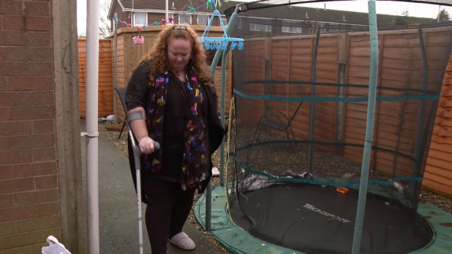 Clair Jones needs to use crutches to move about because her condition of Fibromyalgia causes her so much pain