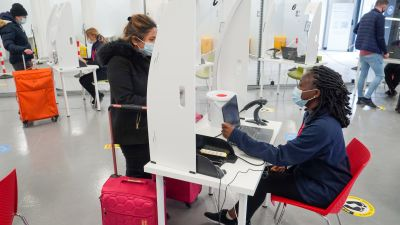 People getting tested for coronavirus at luton airport.