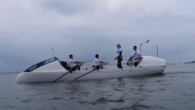 Taylor Winyard on training boat