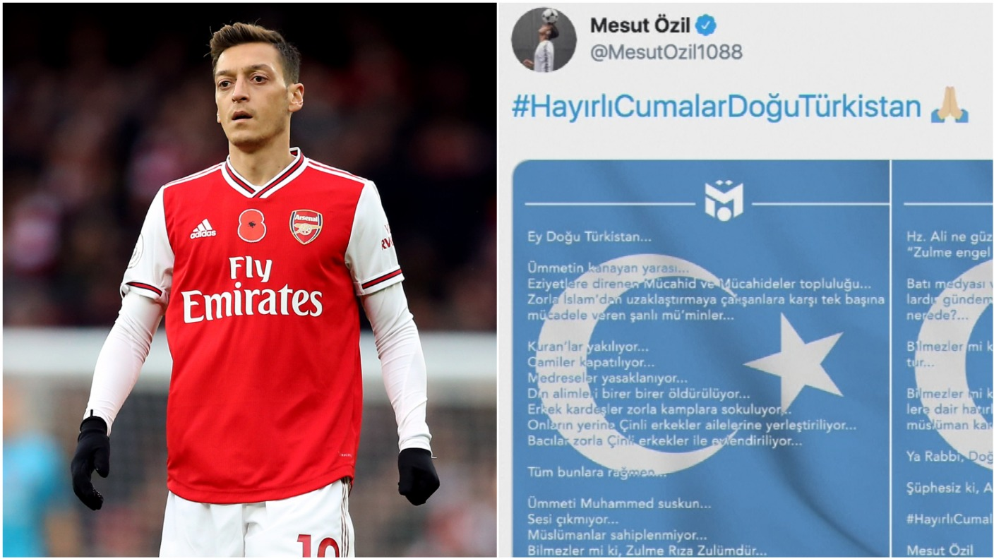 Arsenal's Mesut Ozil's comments on treatment of Uighur Muslims 'blinded and  misled' says China as state TV pulls match | ITV News