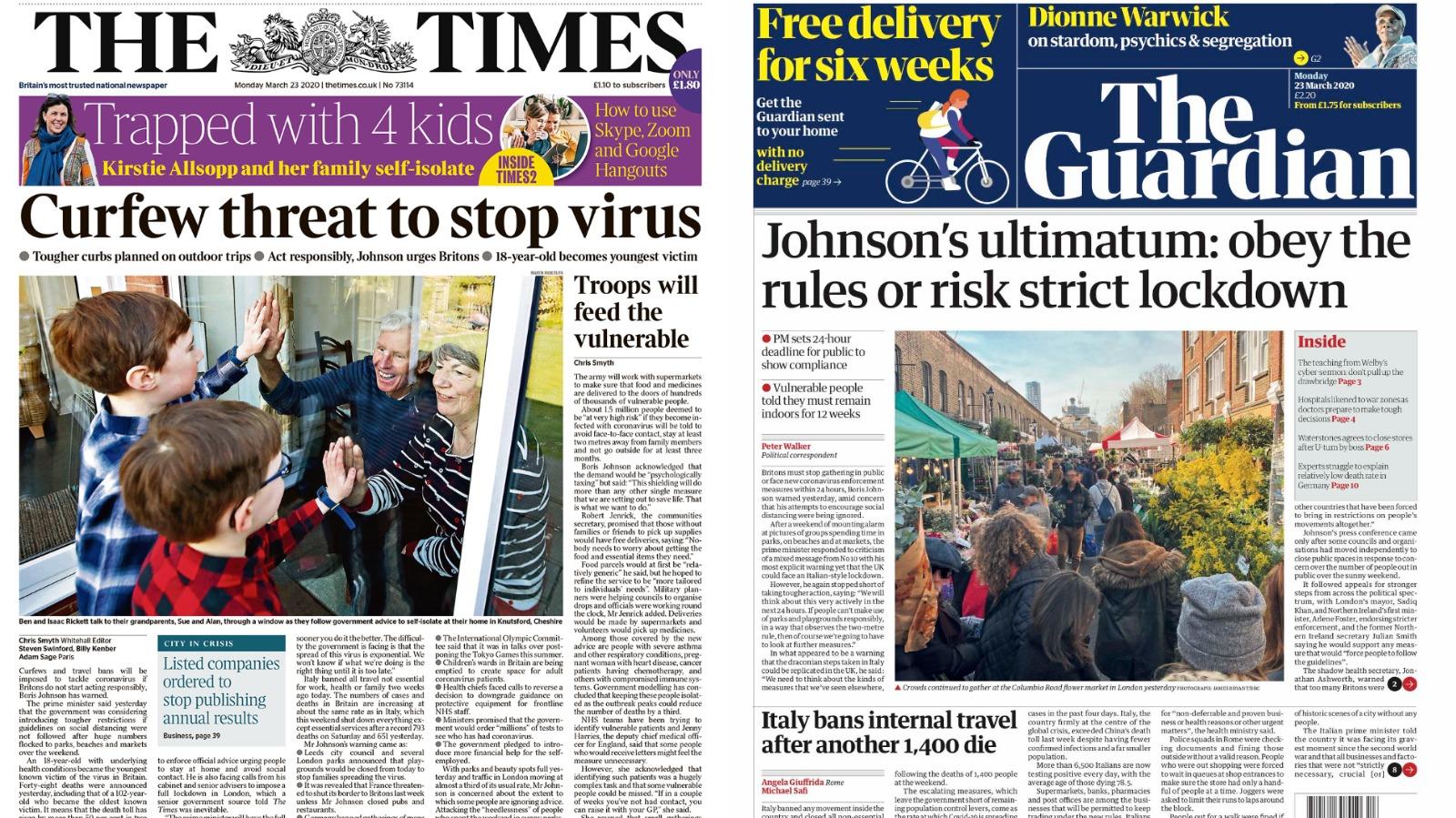 Threat Of Coronavirus Lockdown Leads Monday S Papers Itv News