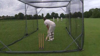 Buckden CC's second team practicing in the nets.