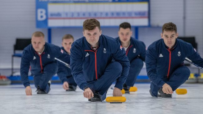 The curlers are the first athletes to be selected for Team GB. Bobby Lammie (left), Ross Whyte, Bruce Mouat, Hammy McMillan, Grant Hardie. Team GB photo 14/10/21.