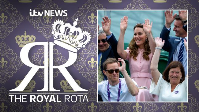 Kate Middleton mid-wave seated with others at Wimbledon.