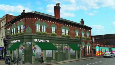 CGI of Peaky Blinders-inspired pub, The Rainbow