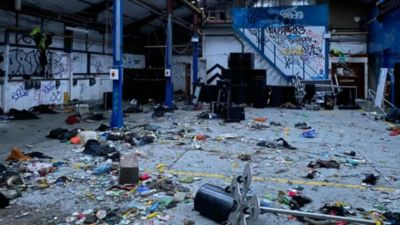 The aftermath of an illegal rave in Yate