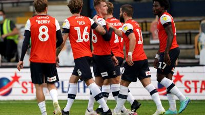 Luton Town celebrate one of Blackburn's own goals at Kenilworth Road.