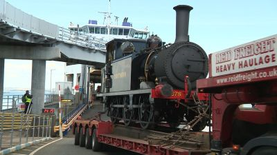 The terrier locomotive Knowle is taken of the Isle of Wight ferry