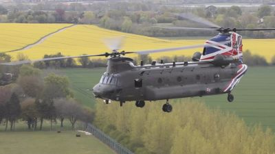 Royal Air Force Odiham is celebrating the 40th anniversary of the Chinook helicopter entering RAF Service with a commemorative new colour scheme.