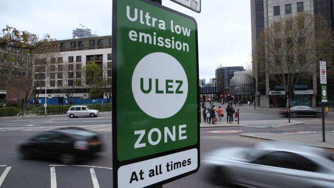 EMBARGOED TO 0001 MONDAY APRIL 8 A view of an information sign at Tower Hill in central London, for the introduction on Monday of the Ultra Low Emission Zone, as London has introduced one of the world's toughest vehicle emissions standards.