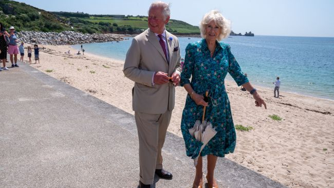 The Prince of Wales and the Duchess of Cornwall, during a visit to St Mary�s Quayside, on St Mary's, Isles of Scilly. Picture date: Tuesday July 20, 2021.  Arthur Edwards/The Sun/PA