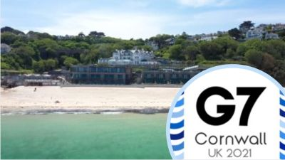 Carbis Bay with insert of G7 Cornwall 2021 logo