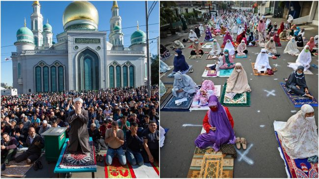 Muslims in both Russia and Jakarta are celebrating Eid outside due to coronavirus.