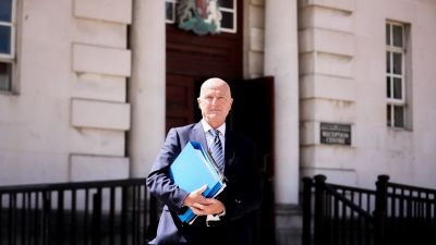 Tony Gribben pictured leaving Belfast High Court where he successfully sued the Diocese of Dromore and St Colman's College, Newry, in relation to abuse by  paedophile priest Malachy Finnegan.