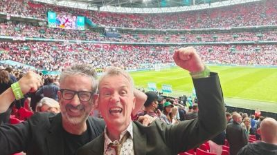 comedians David Baddiel and Frank Skinner celebrating England's victory over Germany in the Euro 2020