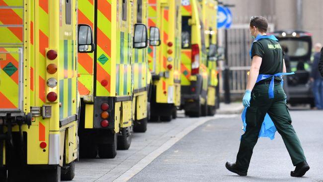 ambulances at Whitechapel hospital in Londo