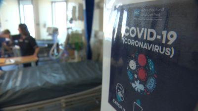 A hospital ward with measures in place due to coronavirus.