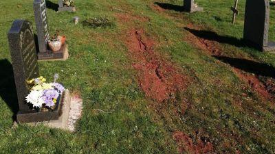 04-03-21- Digger tracks over graves in Torquay-Devon Live