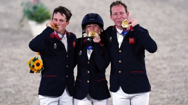 Great Britain's Laura Collett, Tom McEwen and Oliver Townend with their gold medals for the Eventing Jumping Team Final during the Eventing Jumping Team Final and Individual Qualifier at Equestrian Park on the tenth day of the Tokyo 2020 Olympic Games in Japan. Picture date: Monday August 2, 2021. Adam Davy/PA