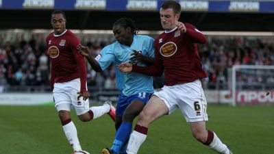 Lee Collins in action for Northampton Town.