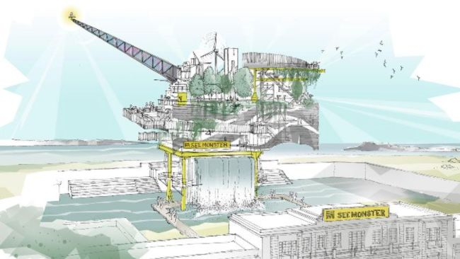 Artist's impression of see monster in Weston super Mare