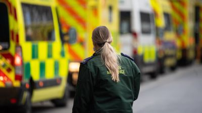A paramedic with ambulances outside the Royal London hospital in London after Prime Minister Boris Johnson ordered a new national lockdown for England which means people will only be able to leave their homes for limited reasons, with measures expected to stay in place until mid-February.