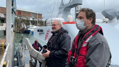 Deputy Guida and Gregory Morel, Natural Environment Marine Resources, aboard the Jersey vessel. Credit: Jersey Government