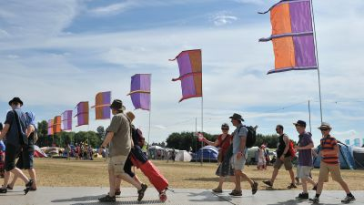 People arrive at Womad Festival