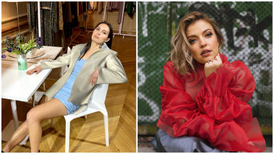 Two pictures where models are wearing digital fashion. On the left the woman is wearing a blue dress and beige jacket. On the right the woman is wearing a red layered top.