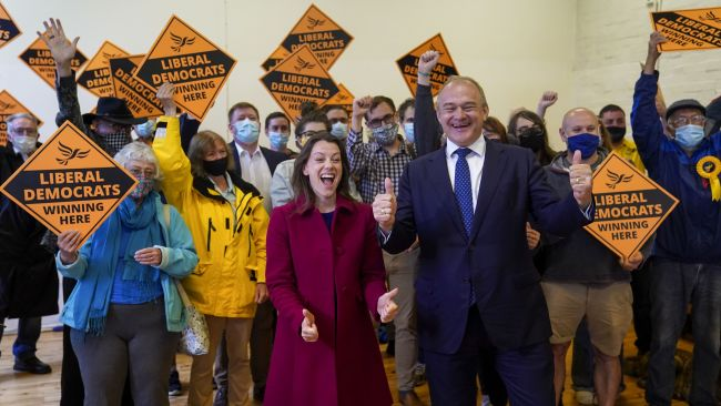 Liberal Democrat leader Ed Davey and new Liberal Democrat MP for Chesham and Amersham, Sarah Green, during a victory rally at Chesham Youth Centre