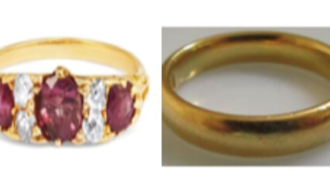 """NHS Staff discovered her rings had been replaced with low-value """"tin"""" bands"""
