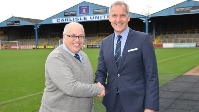26/10/21. Carlisle United chief executive Nigel Clibbens with new manager Keith Millen. Carlisle United.