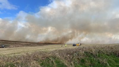 Fire crews tackling large gorse fire in St Just, Cornwall