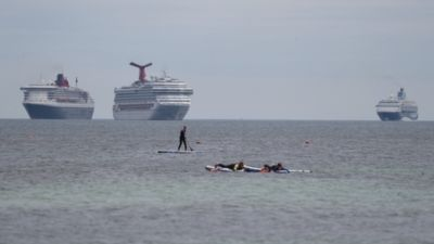 cruise ships off the devon coast
