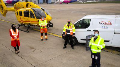 Luton airport with foodbank and air ambulance