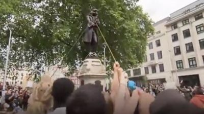 Toppling of statue of slave trader Edward Colston during a Black Lives Matter protest in June 2020, credit ITV West Country