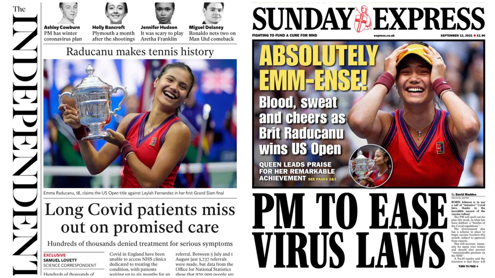 Emma Raducanu's US Open win dominates Sunday's front pages - ITV News