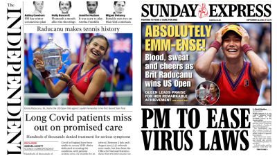 120921 Sunday's front pages, The Independent/Sunday Express