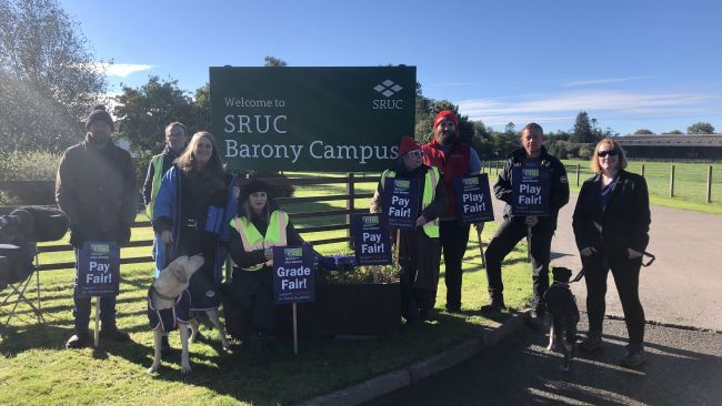 Protesting staff at SRUC Barony Campus in Dumfries today, 6/10/2021. ITV pic