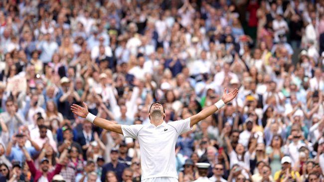 Novak Djokovic celebrates winning the Gentlemen's Singles final against Matteo Berrettini