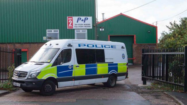 Police van at the scene in Dudley