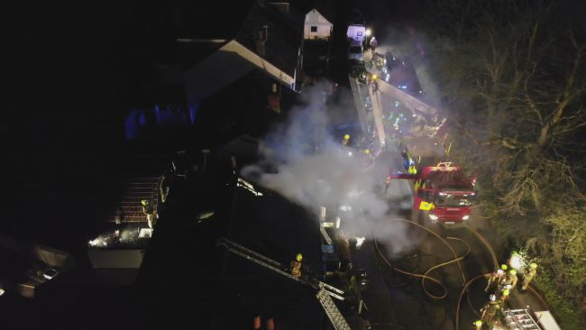 Around fifty firefighters tackled a roof fire at three terraced houses near Arundel. The fire broke out on Crossbush Lane just before 7pm yesterday evening.