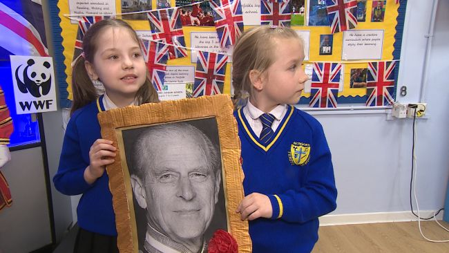 Children at a school near Sandringham hold service for Prince Philip