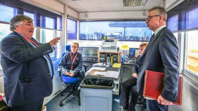 Michael Gove visiting the port of Holyhead in August 2019