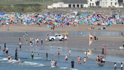 A general view of Croyde beach on a busy day.