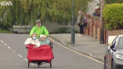 Edith Green on a trishaw