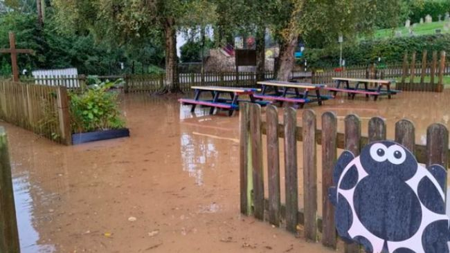 FLOODING IN TIPTON ST JOHN PRIMARY SCHOOL