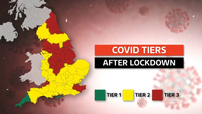 An ITV News graphic showing which areas of England are in Tier 1, 2 or 3.